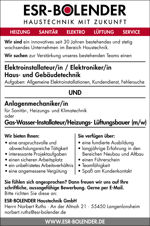 Stellenanzeige der ESR-BOLENDER Haustechnik GmbH